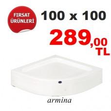 Oval Panelli Duş Teknesi  100 X 100