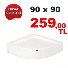 Oval Panelli Duş Teknesi  90 X 90